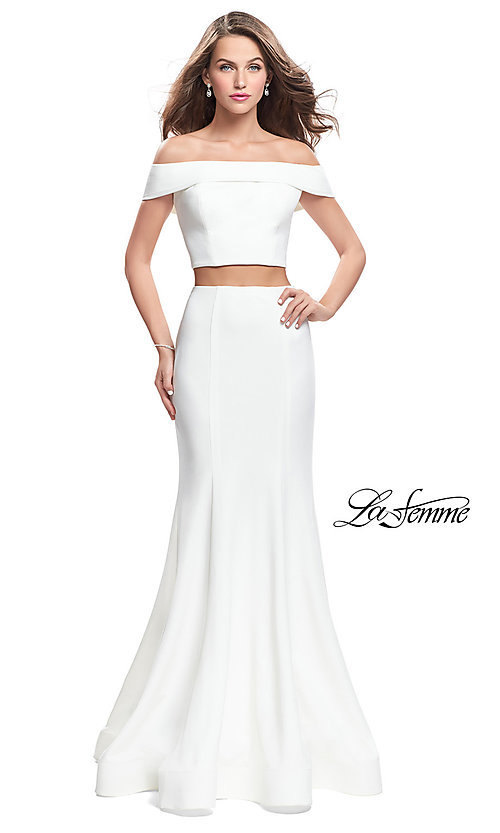 Image of La Femme Off-the-Shoulder Two-Piece Prom Dress. Style: LF-25578 Detail Image 2
