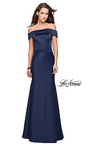 Image of La Femme off-the-shoulder long satin prom dress. Style: LF-25579 Front Image