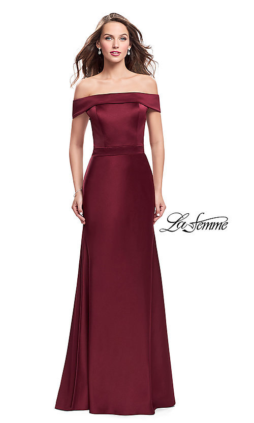 Image of La Femme off-the-shoulder long satin prom dress. Style: LF-25579 Detail Image 1