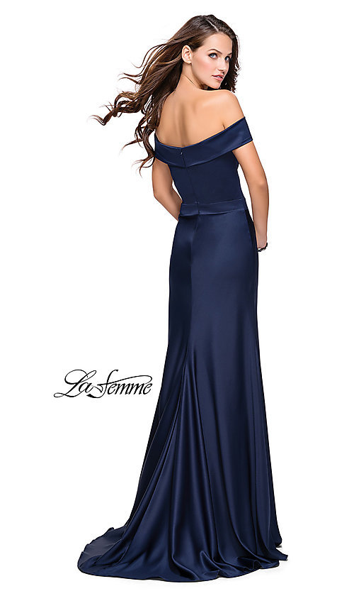 Image of La Femme off-the-shoulder long satin prom dress. Style: LF-25579 Back Image
