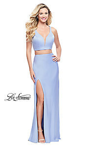 Image of La Femme caged-back two-piece long formal dress. Style: LF-25599 Front Image