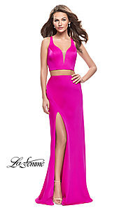 Image of La Femme caged-back two-piece long formal dress. Style: LF-25599 Detail Image 1