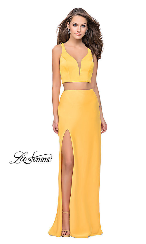Image of La Femme caged-back two-piece long formal dress. Style: LF-25599 Detail Image 3