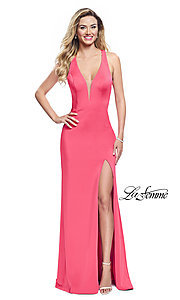Image of v-neck La Femme long prom dress with caged open back. Style: LF-25612 Detail Image 3