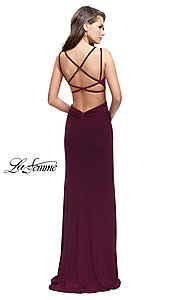 Image of open-back side-slit La Femme prom dress with train. Style: LF-25648 Back Image