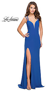 Image of open-back side-slit La Femme prom dress with train. Style: LF-25648 Front Image