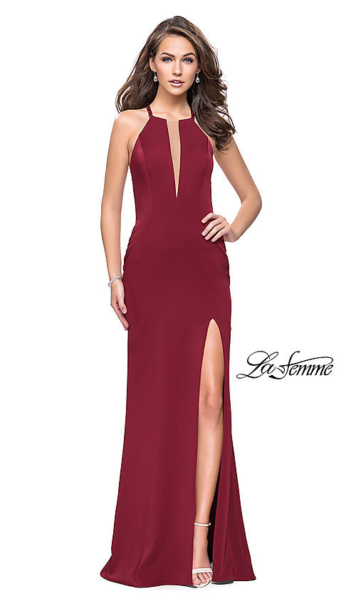 Image of La Femme beaded-strap open-back long prom dress. Style: LF-25669 Front Image