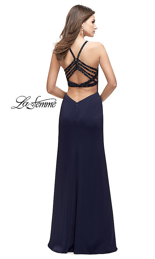 Image of La Femme beaded-strap open-back long prom dress. Style: LF-25669 Back Image