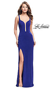 Image of long La Femme formal prom dress with back cut outs. Style: LF-25720 Front Image