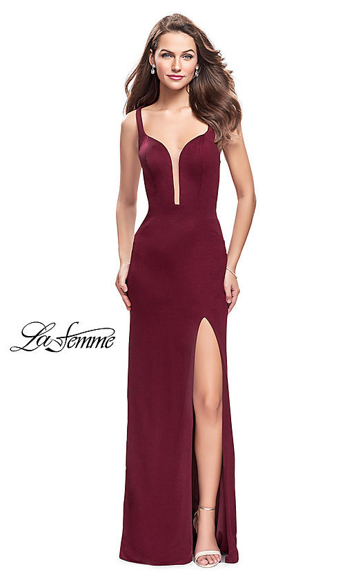 Image of long La Femme formal prom dress with back cut outs. Style: LF-25720 Detail Image 2