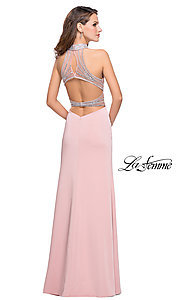 Image of long La Femme formal dress with beaded open back. Style: LF-25767 Back Image