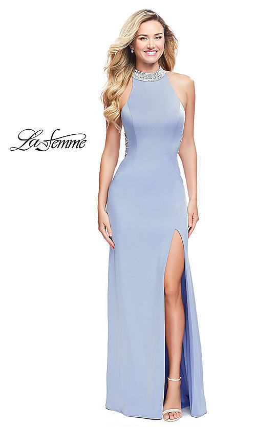 Image of long La Femme formal dress with beaded open back. Style: LF-25767 Front Image