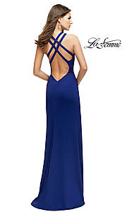 Image of open-back La Femme high-neck long formal dress. Style: LF-25883 Back Image