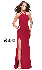 Image of open-back La Femme high-neck long formal dress. Style: LF-25883 Detail Image 2