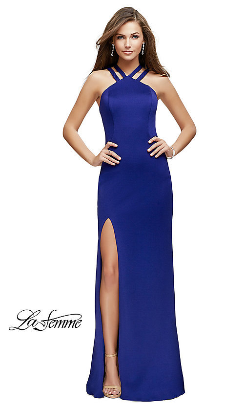 Image of open-back La Femme high-neck long formal dress. Style: LF-25883 Front Image