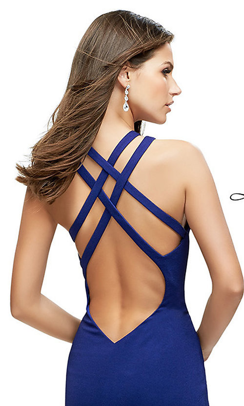 Image of open-back La Femme high-neck long formal dress. Style: LF-25883 Detail Image 1