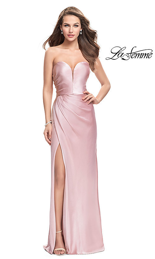 Image of strapless long prom dress with deep v-neckline. Style: LF-26017 Front Image
