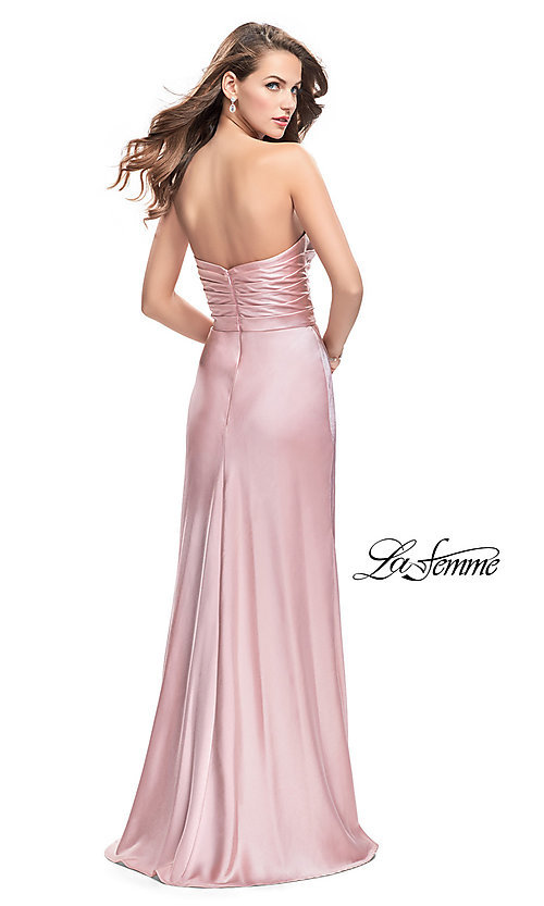 Image of strapless long prom dress with deep v-neckline. Style: LF-26017 Back Image