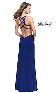 Image of beaded-caged-back La Femme long formal dress. Style: LF-26021 Back Image