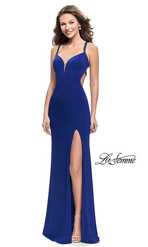 Image of beaded-caged-back La Femme long formal dress. Style: LF-26021 Front Image