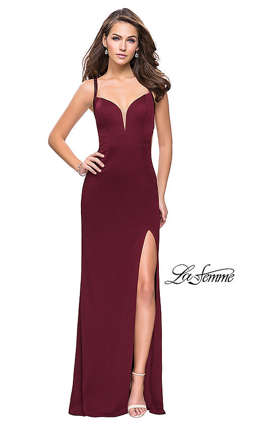Image of beaded-caged-back La Femme long formal dress. Style: LF-26021 Detail Image 2