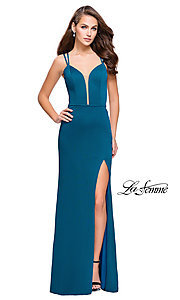 Image of La Femme long v-neck prom dress with open back. Style: LF-26023 Front Image