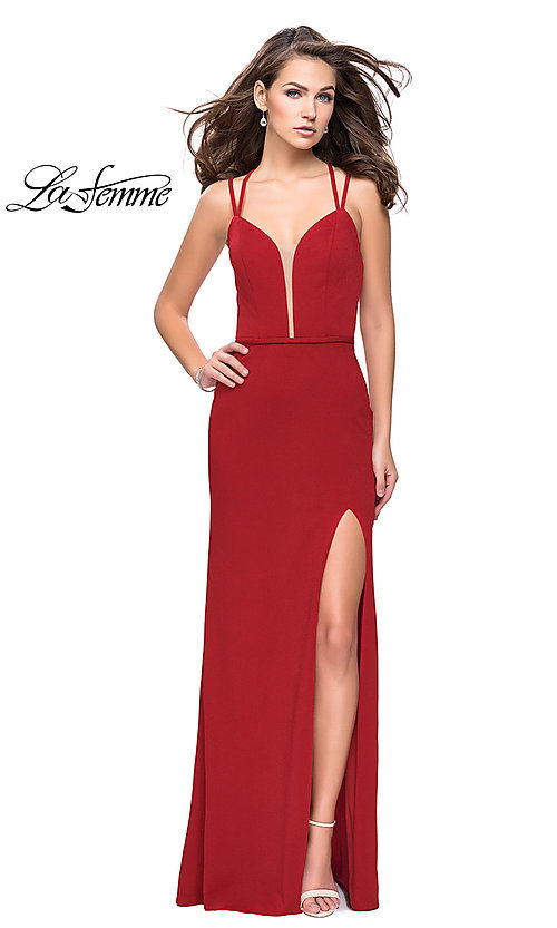 Image of La Femme long v-neck prom dress with open back. Style: LF-26023 Detail Image 2