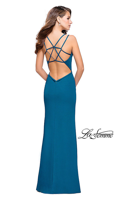 Image of La Femme long v-neck prom dress with open back. Style: LF-26023 Back Image