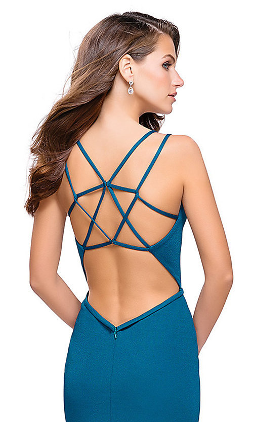 Image of La Femme long v-neck prom dress with open back. Style: LF-26023 Detail Image 3