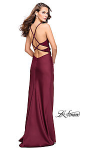 Image of sleeveless open-back long La Femme v-neck prom dress. Style: LF-26036 Front Image