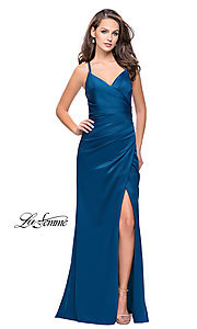 Image of sleeveless open-back long La Femme v-neck prom dress. Style: LF-26036 Detail Image 2
