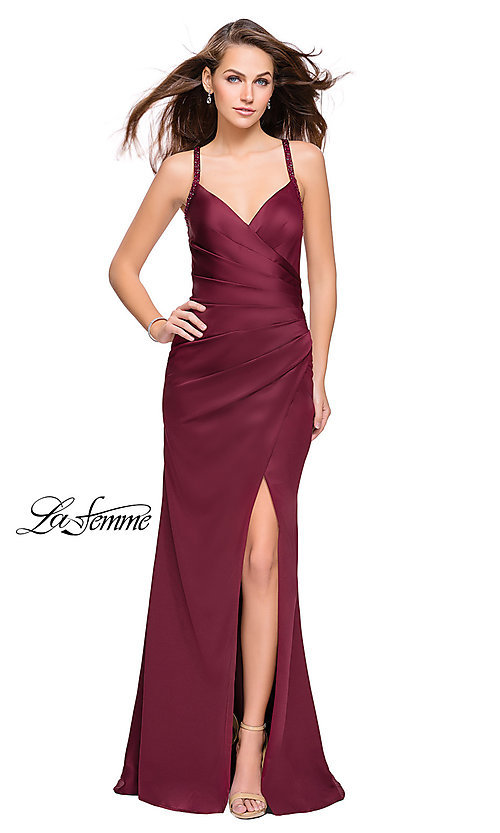 Image of sleeveless open-back long La Femme v-neck prom dress. Style: LF-26036 Back Image