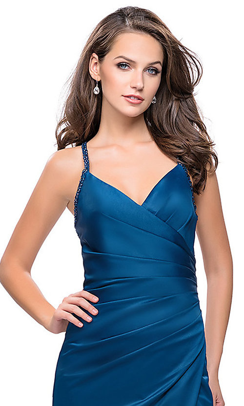 Image of sleeveless open-back long La Femme v-neck prom dress. Style: LF-26036 Detail Image 3