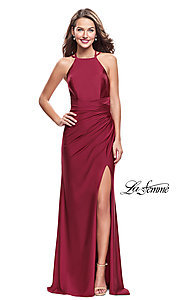 Image of open-back high-neck long La Femme prom dress. Style: LF-26141 Front Image