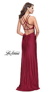 Image of open-back high-neck long La Femme prom dress. Style: LF-26141 Back Image