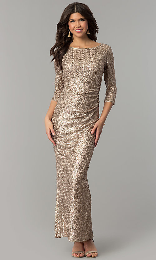 Gold Formal Holiday Dress with Three-Quarter