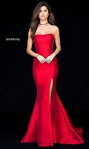 Image of long strapless Sherri Hill princess-cut prom dress. Style: SH-51671 Front Image