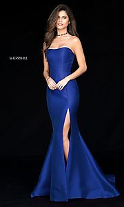 Image of long strapless Sherri Hill princess-cut prom dress. Style: SH-51671 Detail Image 3