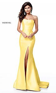 Image of long strapless Sherri Hill princess-cut prom dress. Style: SH-51671 Detail Image 1