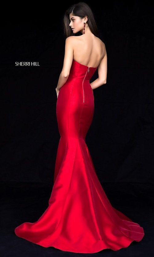 Image of long strapless Sherri Hill princess-cut prom dress. Style: SH-51671 Back Image