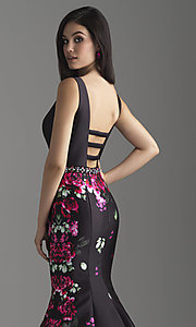Image of floral-print deep-v-neck sleeveless prom dress. Style: NM-18-601 Detail Image 2