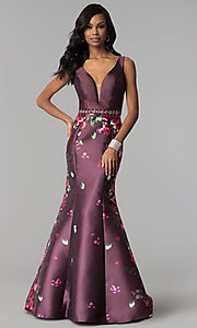 Image of floral-print deep-v-neck sleeveless prom dress. Style: NM-18-601 Detail Image 3