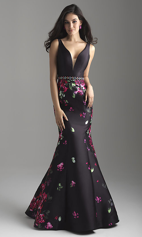Image of floral-print deep-v-neck sleeveless prom dress. Style: NM-18-601 Front Image