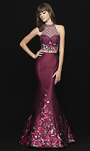 Image of Madison James two-piece print mermaid prom dress. Style: NM-18-602 Detail Image 3