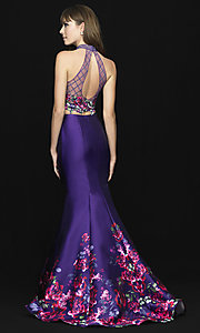 Image of Madison James two-piece print mermaid prom dress. Style: NM-18-602 Back Image