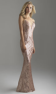 Image of formal long rose gold sequin prom dress with train. Style: NM-18-624 Front Image