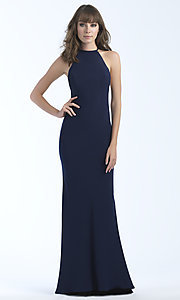 Image of high-neck long formal dress with open back. Style: NM-18-677 Back Image