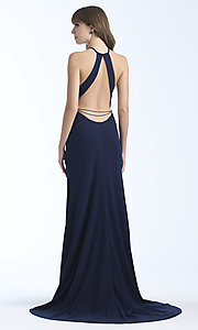 Image of high-neck long formal dress with open back. Style: NM-18-677 Front Image