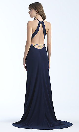 High-Neck Long Formal Dress with Open Back