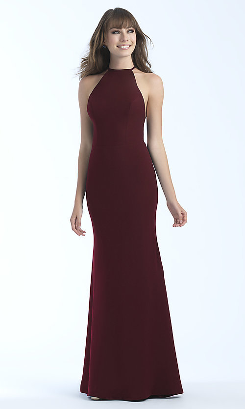 Image of high-neck long formal dress with open back. Style: NM-18-677 Detail Image 1